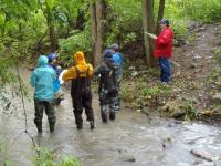 Students collecting stream data